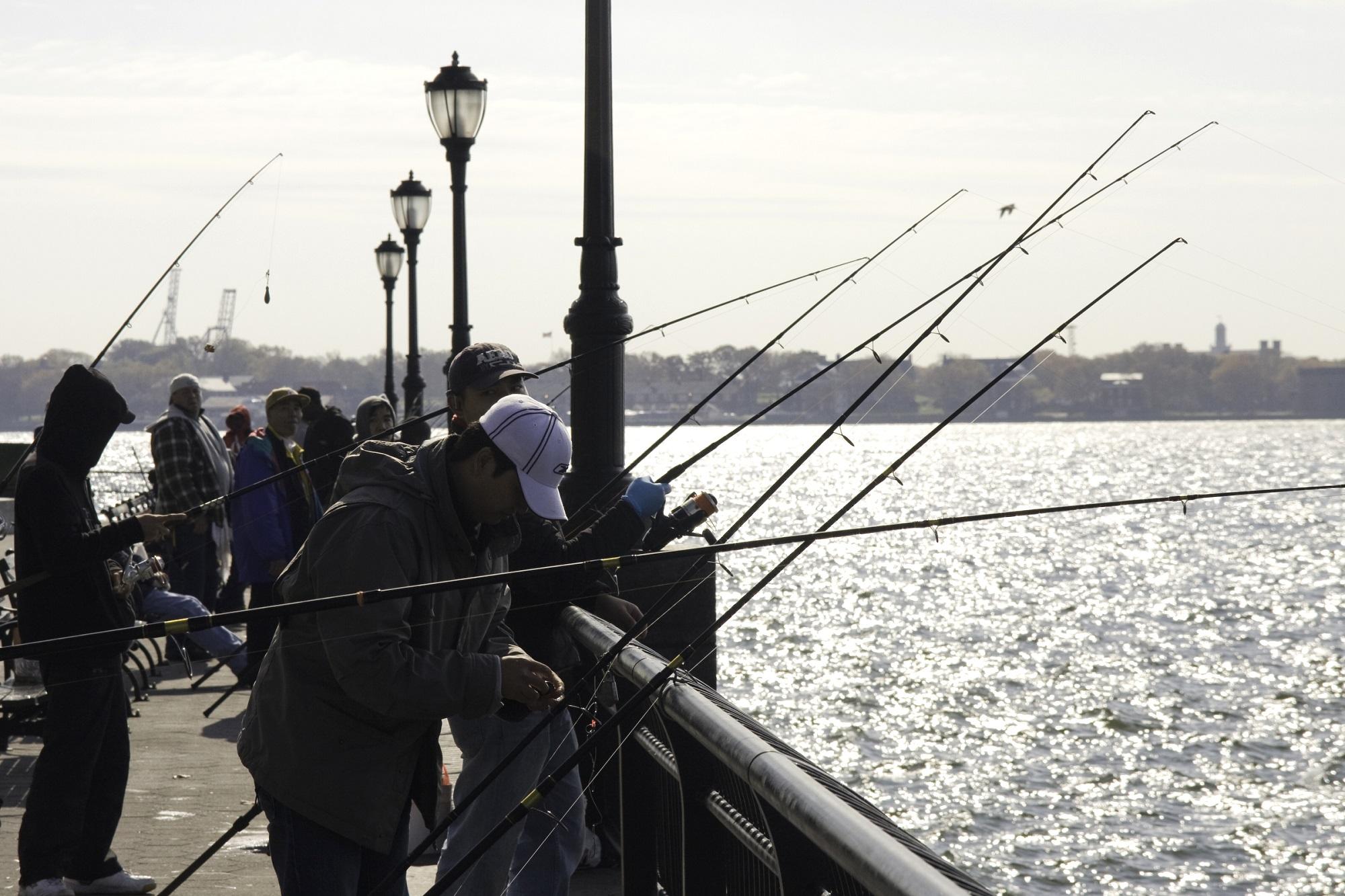 Visssers langs het water in New york